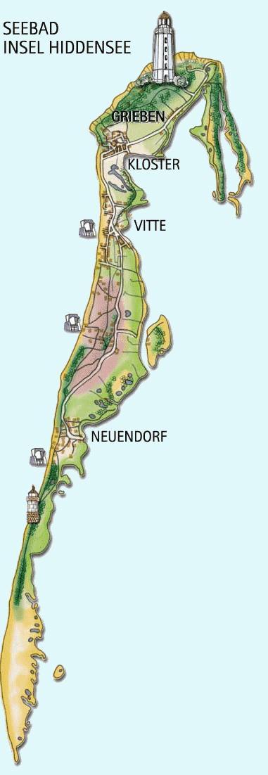 Karte der Insel Hiddensee bei Rügen, Deutschland ...