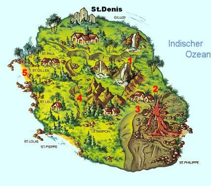 la reunion karte La Reunion Landkarte | Kleve Landkarte