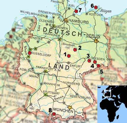 elbsandsteingebirge karte deutschland Deutschlandkarte Quedlinburg Mühlhausen Dresden